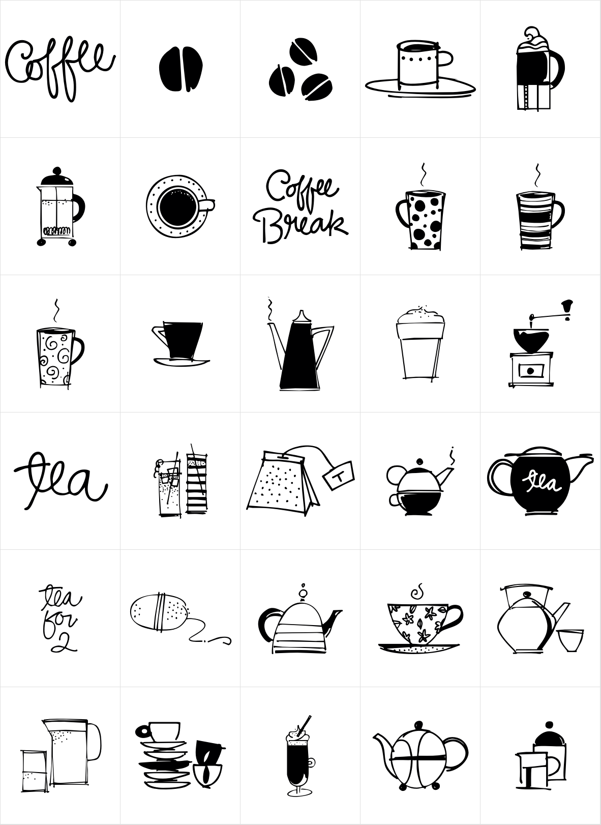 Coffee and Tea Doodles