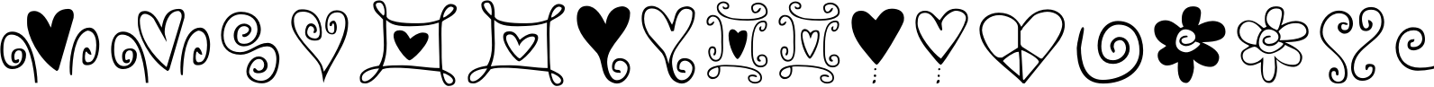Hearts and Swirls Font