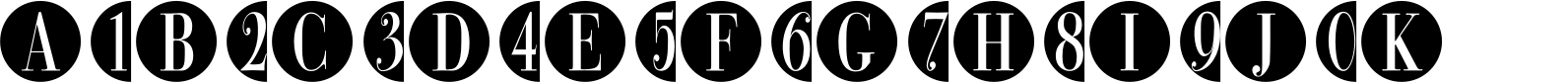 Bullet Numbers Bodoni Cond Neg Font