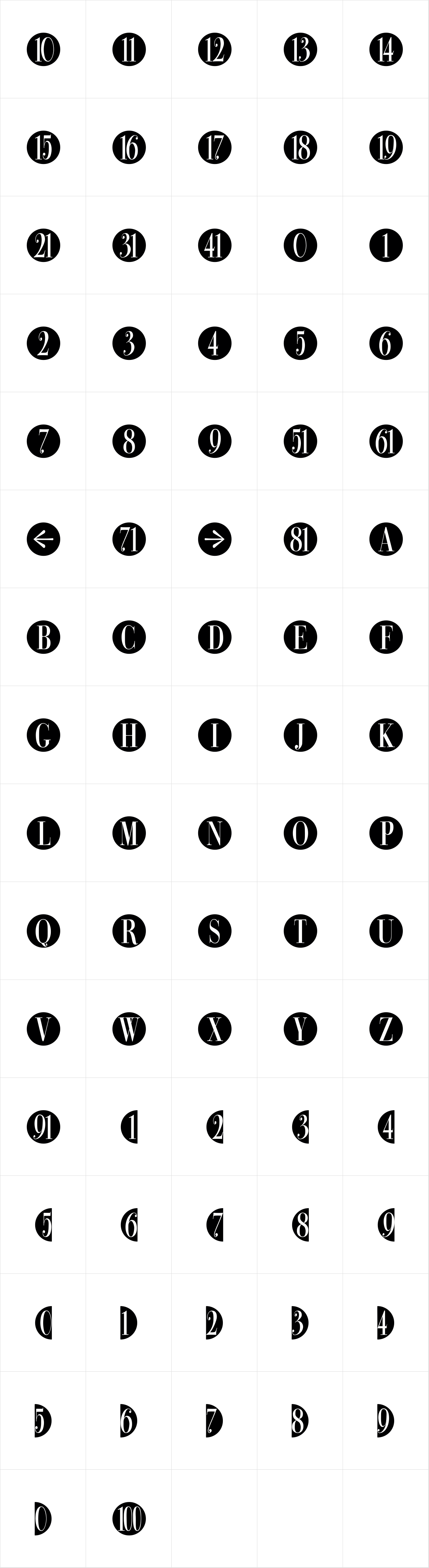 Bullet Numbers Bodoni Cond Neg