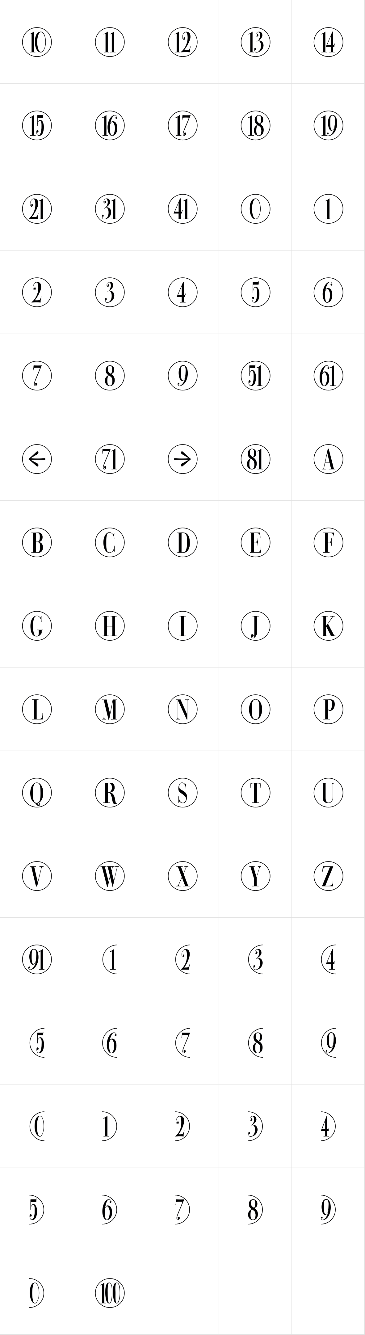 Bullet Numbers Bodoni Cond Pos