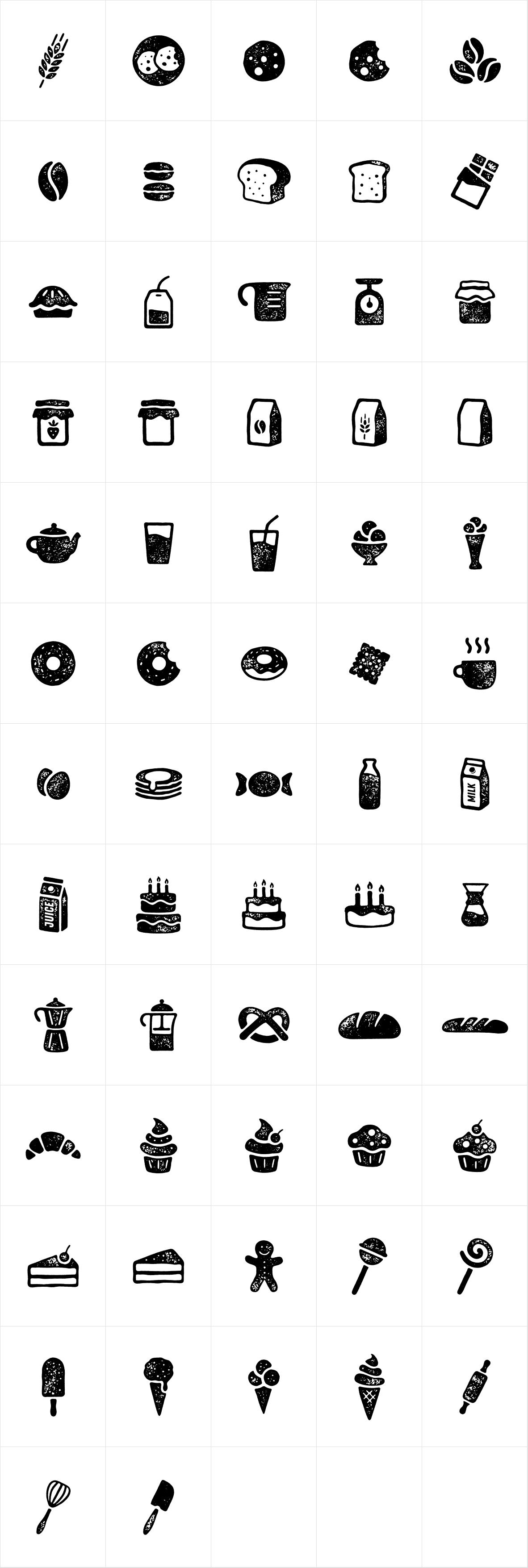 Zing Goodies Bakery Icons Grunge