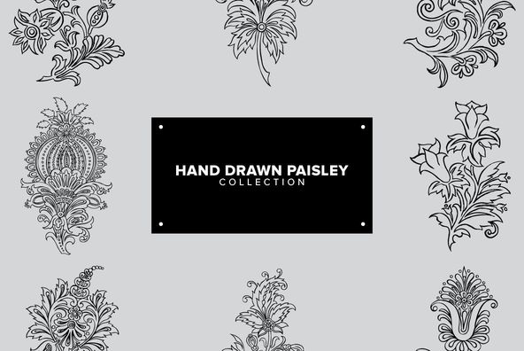 Hand Drawn Paisley Collection