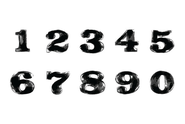 10 Hand Painted Numbers