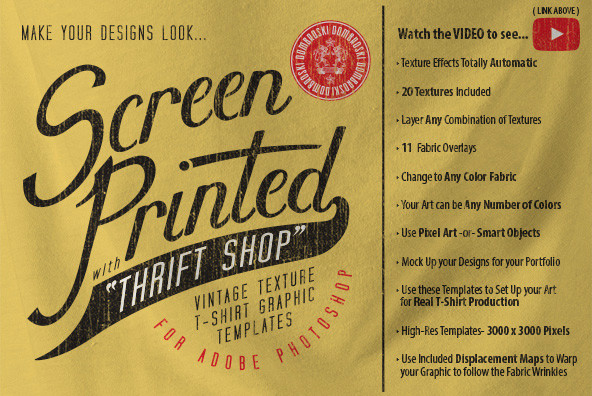 Thrift Shop  Vintage T Shirt Texture Template
