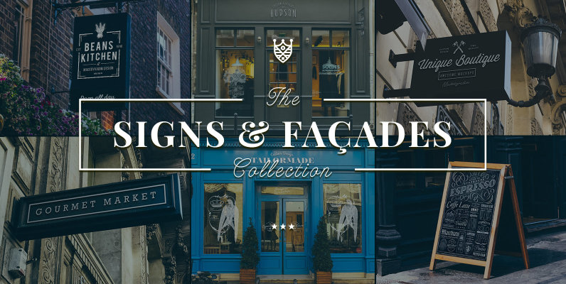 165 Signs   Facades Photoshop Mockups Collection