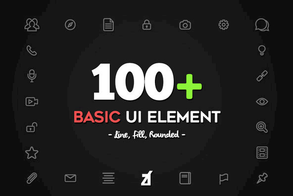 100 Basic UI Element Icons