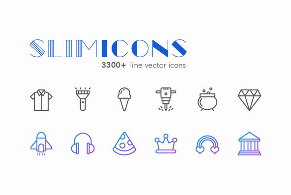 Slimicons   3300 Line Vector Icons