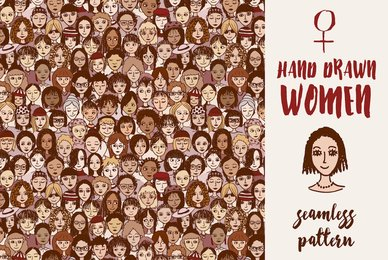Hand Drawn Women   Seamless Pattern