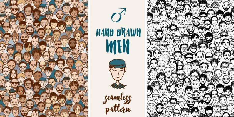 Hand Drawn Men   Seamless Pattern