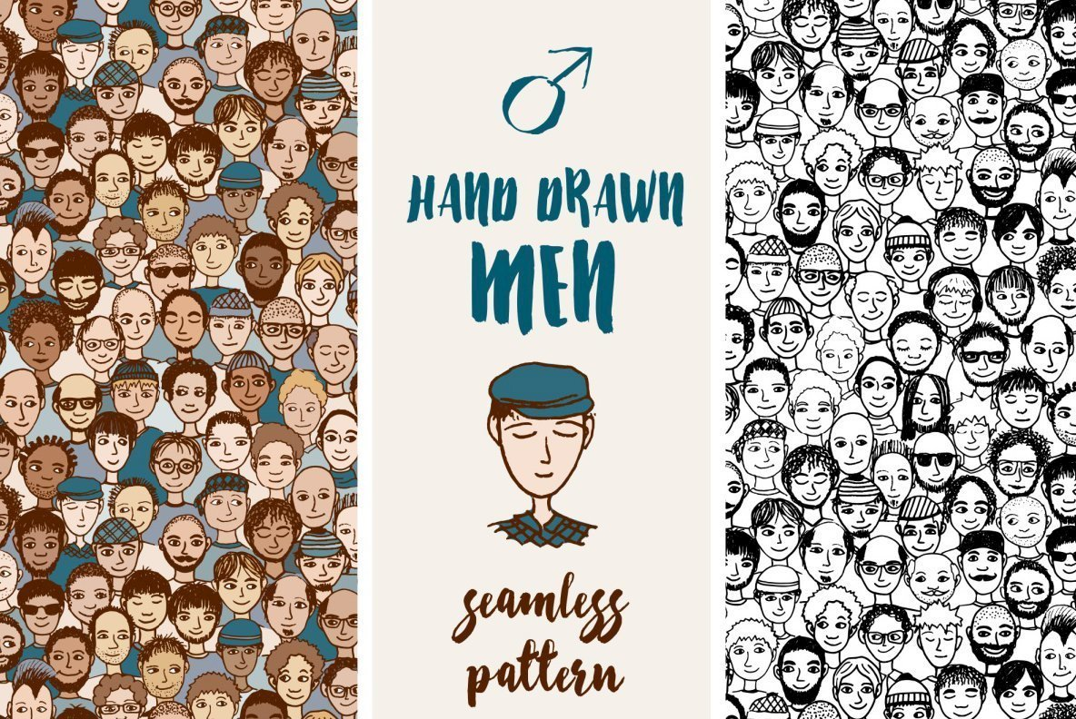 Hand Drawn Men   Seamless Pattern