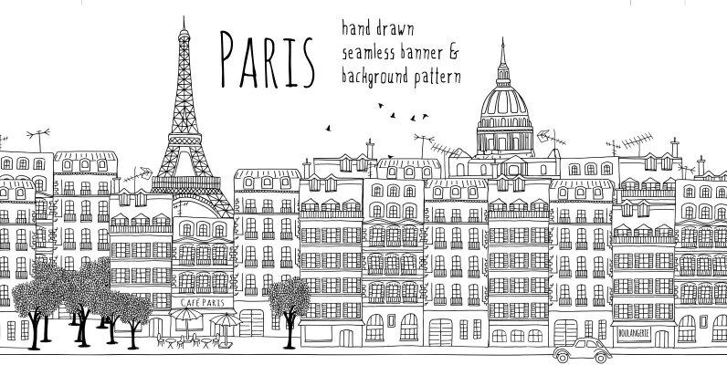 Paris Seamless Banner   Pattern