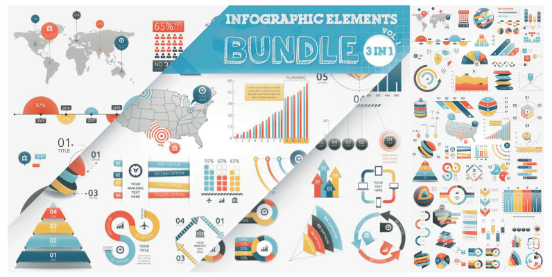 Infographic Elements Bundle  3 in 1  vol 1