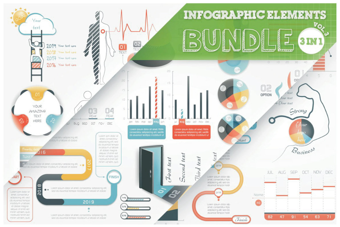 Infographic Elements Bundle  3 in 1  vol 3