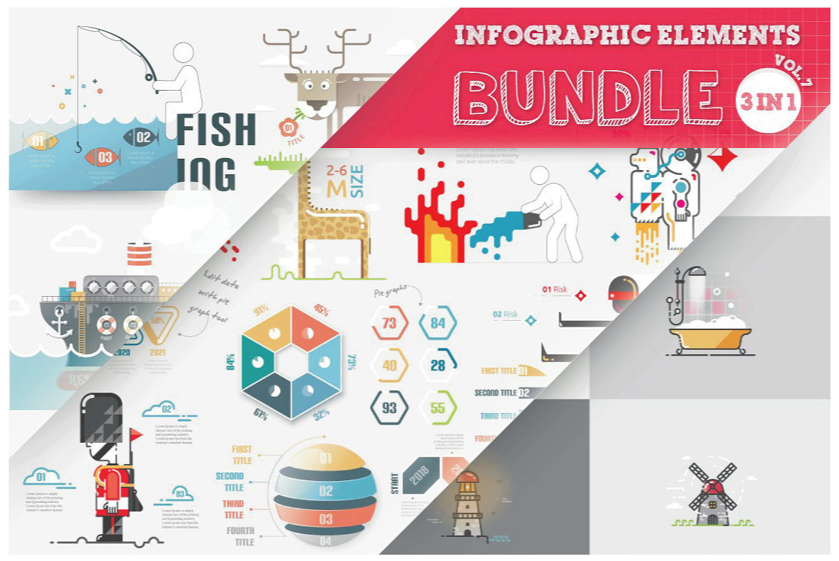 Infographic Elements Bundle  3 in 1  vol 7