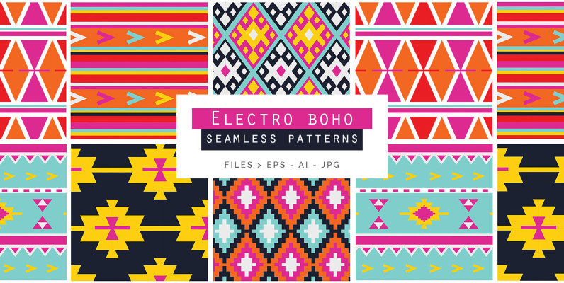 Electro Boho Seamless Patterns