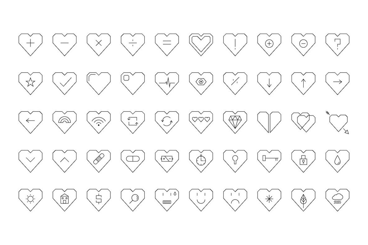 50 Vector Heart Shaped Icons