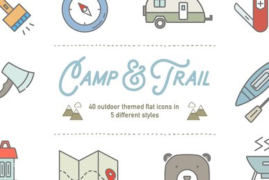 Camp  Trail Vector Recreation Icons