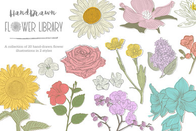HandDrawn Flower Library