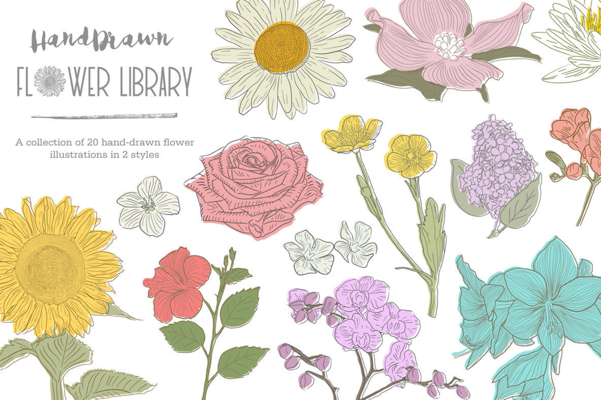 HandDrawn Flower Library