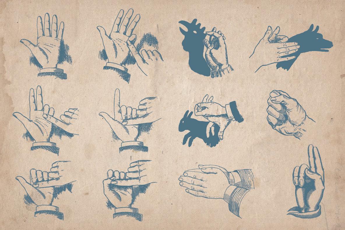 100 Vintage Hand Illustrations