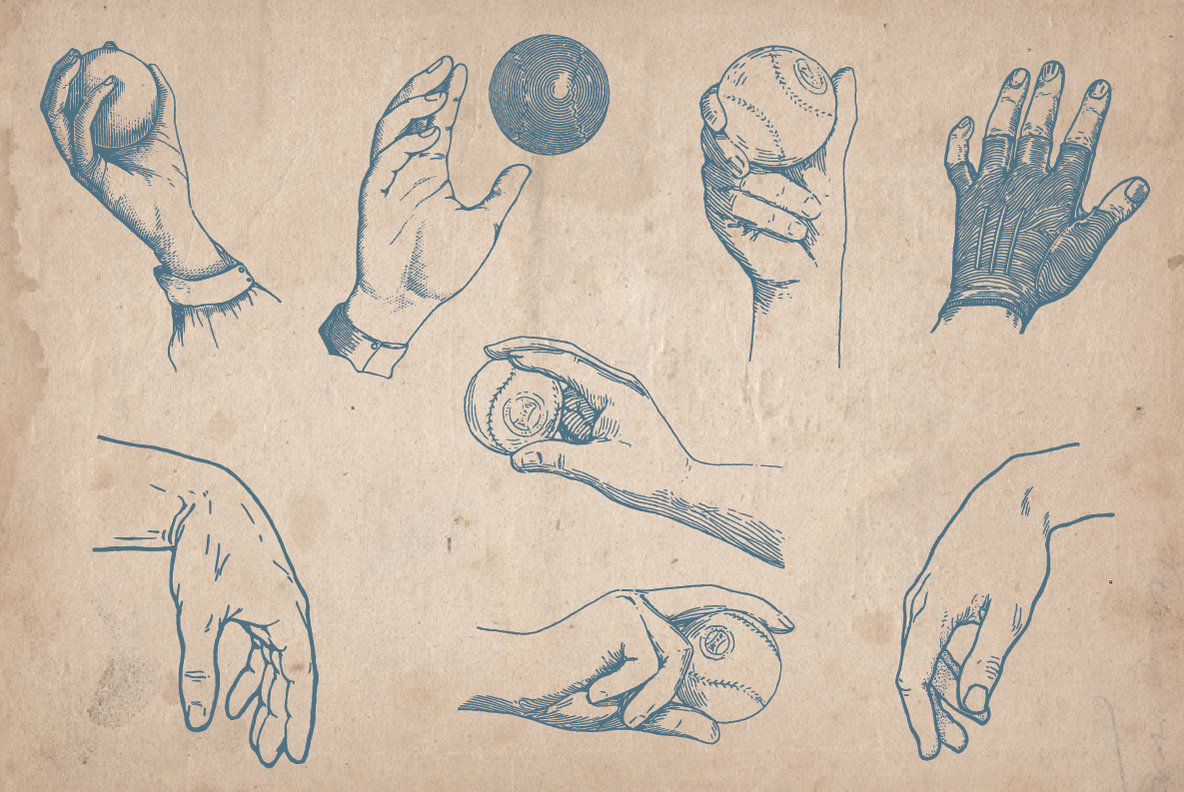 100 Vintage Hand Illustrations