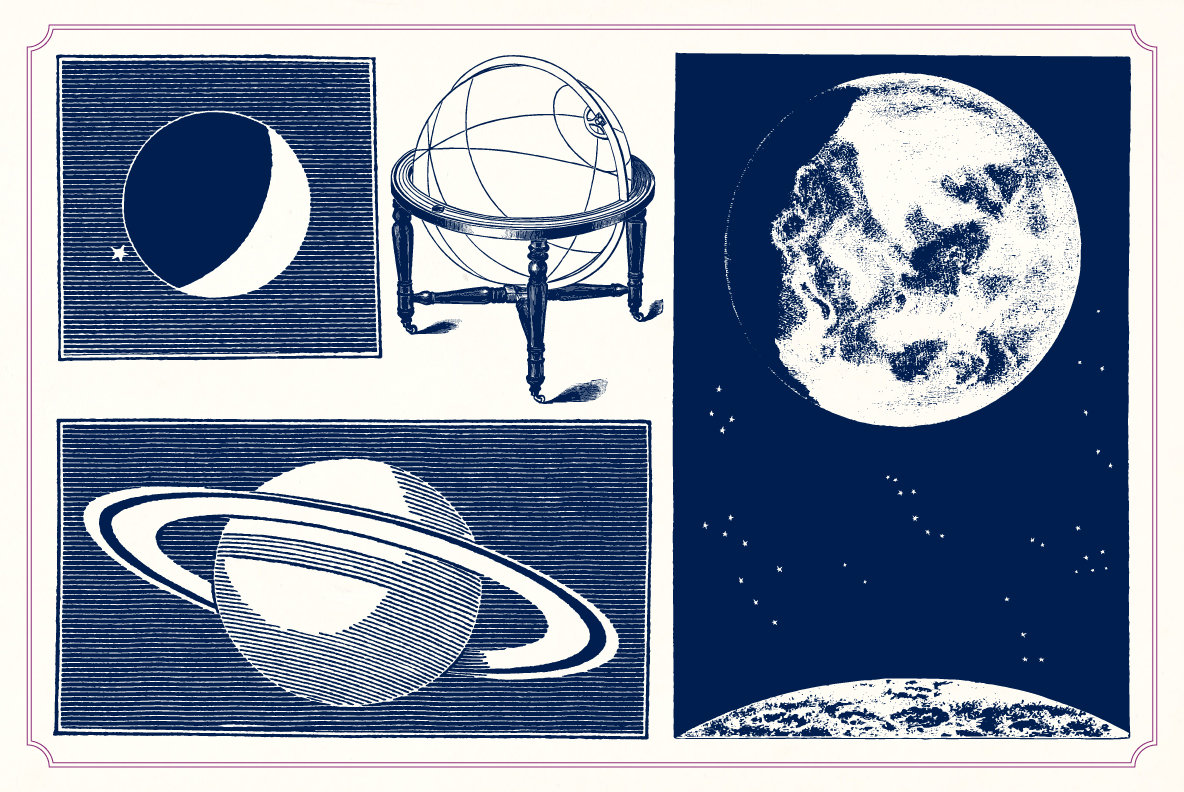 Vintage Space illustrations