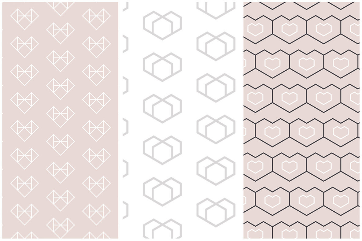 Geometric Hearts Patterns