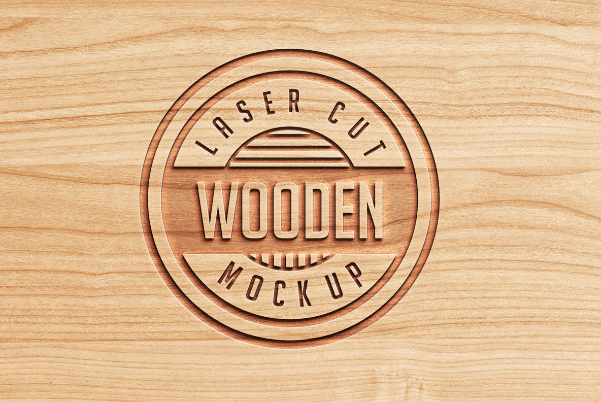 Logo Mock Ups   Wood Set