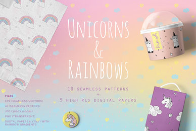 Unicorns  Rainbows Patterns