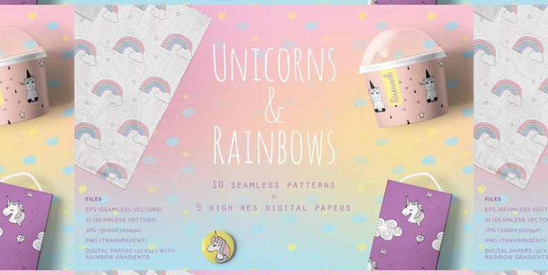 Unicorns   Rainbows Patterns