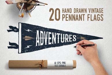 20 Hand Drawn Pennant Flags