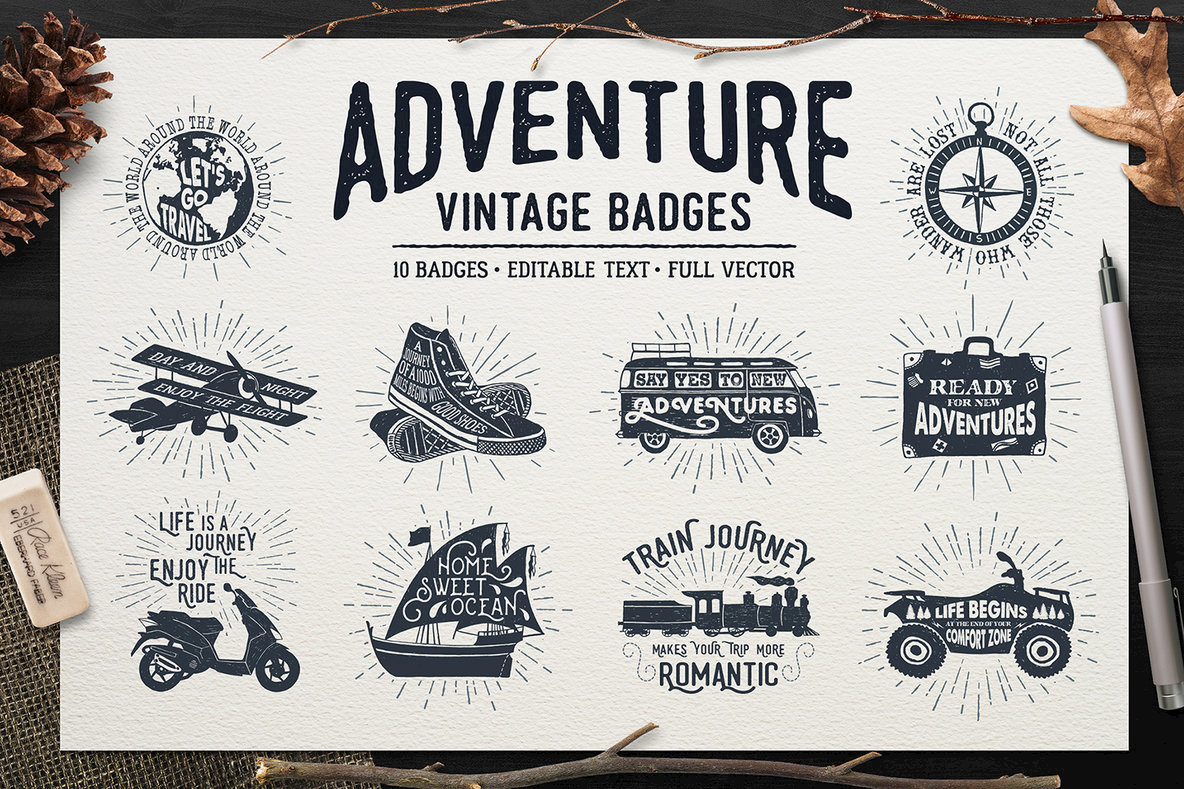 Adventure Vintage Badges 1