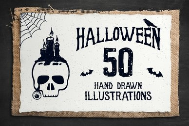 50 Hand Drawn Halloween Objects