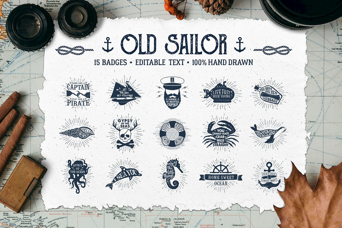 15 Old Sailor Badges   V1