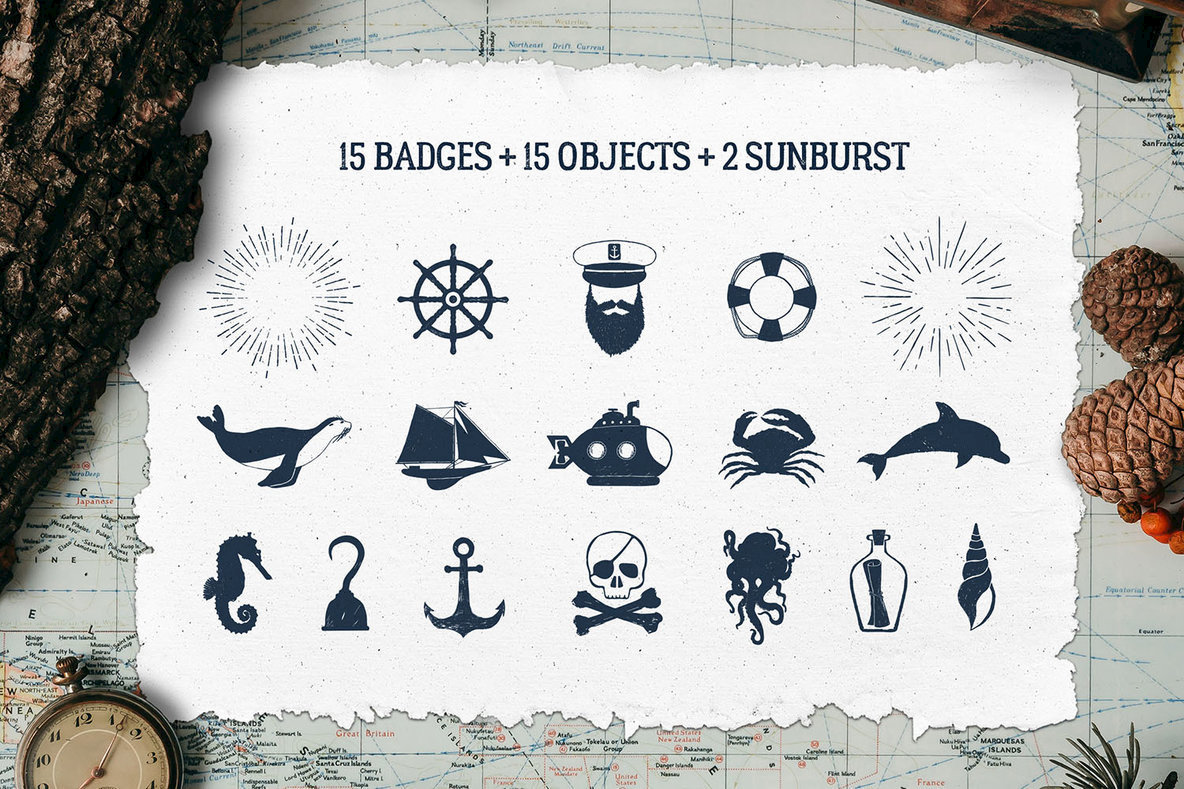 15 Old Sailor Badges   V1