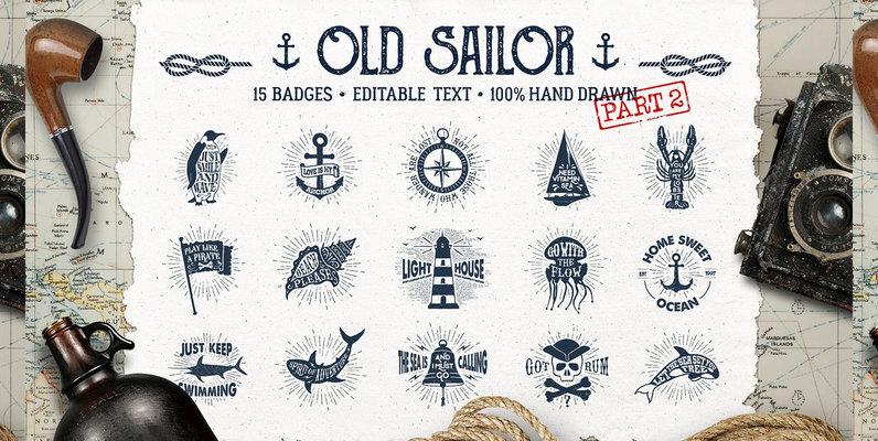 15 Old Sailor Badges   V2