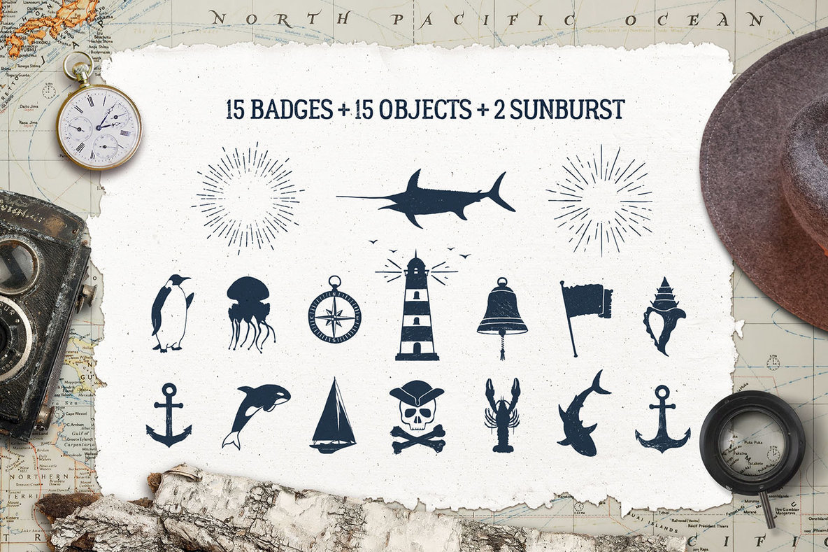 15 Old Sailor Badges   V2