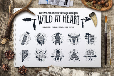 Wild At Heart Vintage Badges   v1