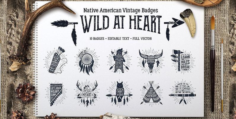 Wild At Heart Vintage Badges   v1