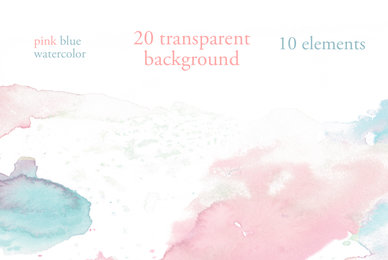 20 Pink  Blue Watercolor