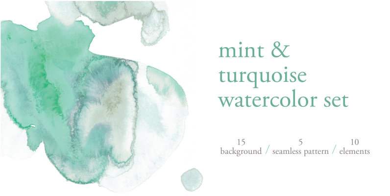 Mint   Turquoise Watercolor Set