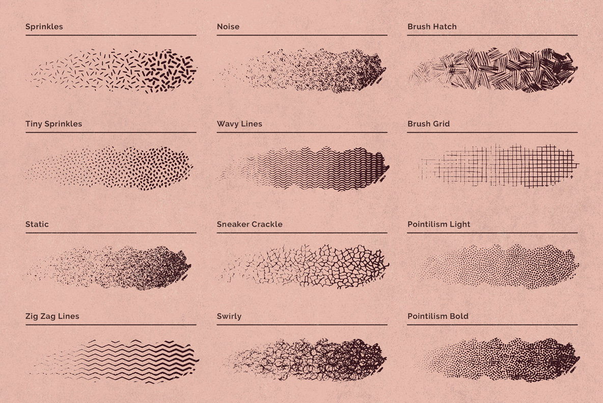 Lithotone Distressed Pattern Brushes For Photoshop