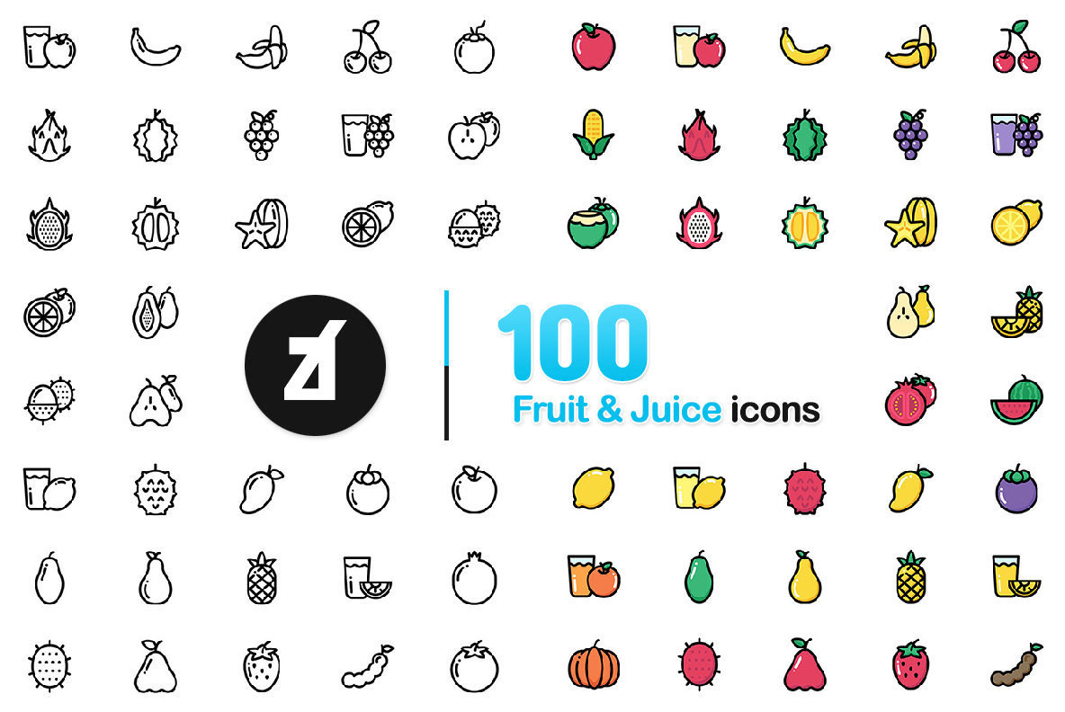 100 Fruit and Juice Icons