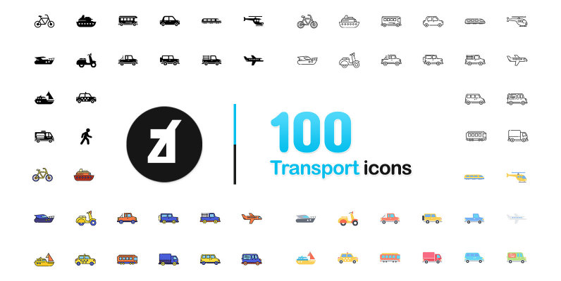 100 Transportation Icons