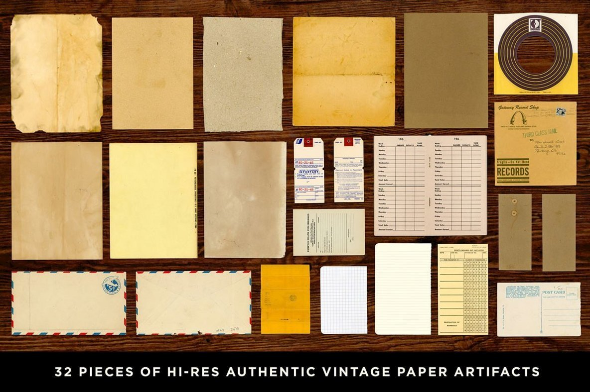 Paper Artifacts   Texture   Ephemera Bundle
