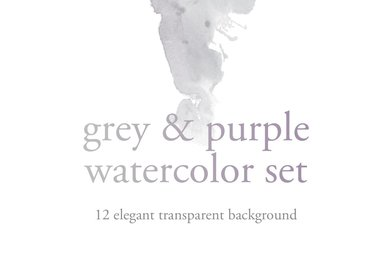 Grey  Purple Watercolor Set