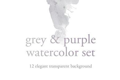 Grey  Purple Watercolor Set