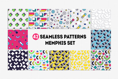 42 Memphis Seamless Patterns