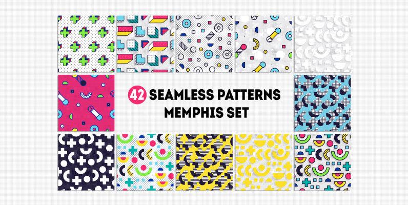 42 Memphis Seamless Patterns